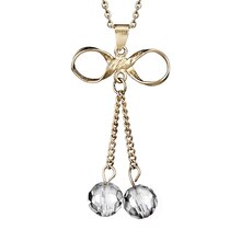Women's Gold IP Stainless Steel Crystal Drops Bowtie Pendant