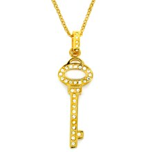 Women's Gold IP Stainless Steel Cubic Zirconia Key Pendant