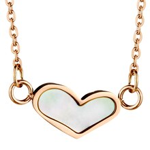 Women's Rose Gold IP Stainless Steel Pearl Inlay Heart Pendant