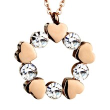 Women's Rose Gold IP Stainless Steel Cubic Zirconia & Heart Circle Pendant