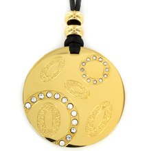 Women's Gold IP Stainless Steel Cubic Zirconia Round Pendant