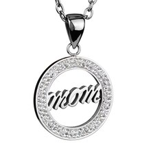 Women's Stainless Steel Cubic Zirconia 'Mom' Script Circle Pendant