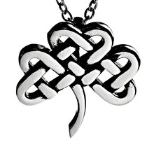 Women's Polished Stainless Steel Celtic Clover Pendant