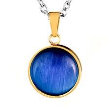 ELYA Gold IP Stainless Steel Blue Tiger's Eye Pendant Necklace, medium