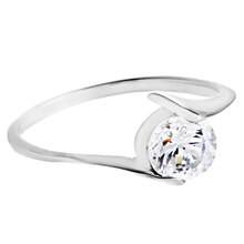 Women's Polished Round-Cut Cubic Zirconia Stainless Steel Ring, 6