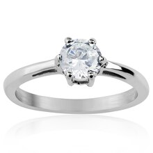 Women's Stainless Steel Round Cut Prong Set Cubic Zirconia Solitaire Ring, 7