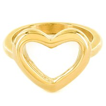ELYA High Polished Open Heart Gold IP Stainless Steel Ring, 7