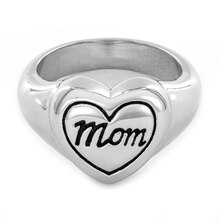 Women's High Polished Stainless Steel Engraved 'Mom' Heart Ring, 6