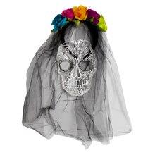 Day of the Dead Skull Headband Veil By Imagin8