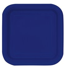 "9"" Square Navy Blue Party Plates, 14ct"