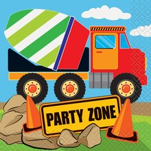 Construction Truck Party Beverage Napkins, 16ct