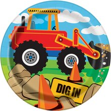 "7"" Construction Truck Party Plates, 8ct"