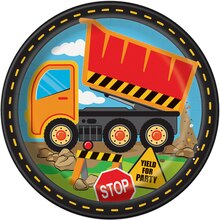 "9"" Construction Truck Party Plates, 8ct"