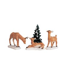 Lemax Dad and Fawns, Set of 4