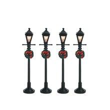 Lemax Gas Lantern Street Lamp, Set of 4, Battery Operated (4.5V)