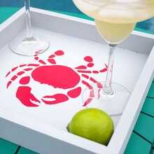 Outdoor Crab Stenciled Tray, medium