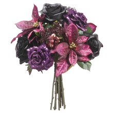 "13"" Glitter Rose, Poinsettia & Skimmia Bouquet, Purple"