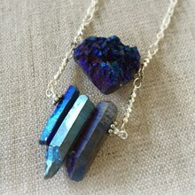 Blue Druzy Pendant Necklace, medium