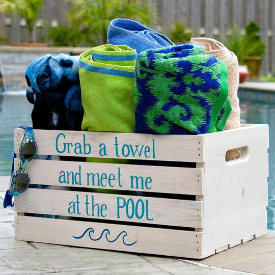 Pool Towel Sign With Hooks: Poolside Towel Crate