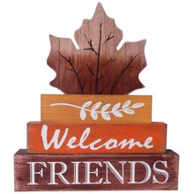 Welcome Friends Leaf Tabletop Sign By Ashland