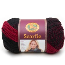 Lion Brand Scarfie Yarn, Cranberry/Black