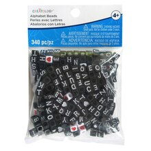 Black Alphabet Square Cube Beads By Creatology
