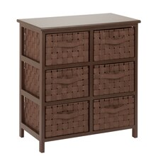 Honey-Can-Do Woven Strap 6 Drawer Chest with Wooden Frame