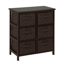 Honey-Can-Do Woven Strap 6 Drawer Chest with Wooden Frame, Espresso
