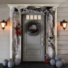 Crows and Floral Halloween Door Décor, medium