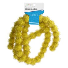 Gold Tinsel Pom Pom Garland By Creatology