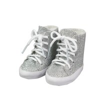 Sparkle High Top Shoes for Dolls By Creatology, Silver