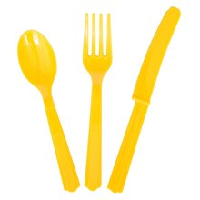 Assorted Plastic Cutlery Set for 8, Yellow