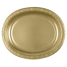 "12"" Oval Gold Dinner Plates, 8ct"