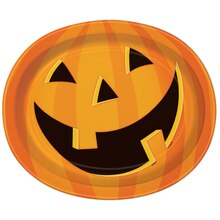 "12"" Oval Smiling Pumpkin Halloween Dinner Plates, 8ct"
