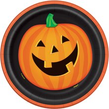 "7"" Smiling Pumpkin Halloween Party Plates, 8ct"