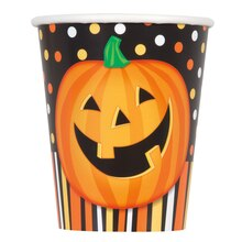 9oz Smiling Pumpkin Halloween Paper Cups, 8ct