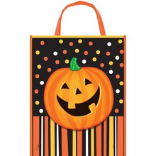 "Large Plastic Smiling Pumpkin Halloween Favor Bag, 15"" x 12"""