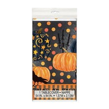 "Plastic Painted Pumpkin Halloween Tablecloth, 84"" x 54"""