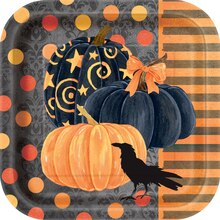 "7"" Square Painted Pumpkin Halloween Party Plates, 10ct"
