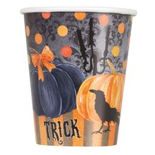 9oz Painted Pumpkin Halloween Paper Cups, 8ct