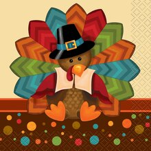 Cute Turkey Thanksgiving Beverage Napkins, 16ct