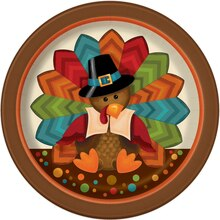 "7"" Cute Turkey Thanksgiving Party Plates, 8ct"