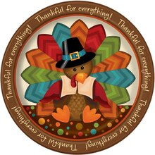 "9"" Cute Turkey Thanksgiving Party Plates, 8ct"