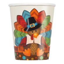 9oz Cute Turkey Thanksgiving Paper Cups, 8ct
