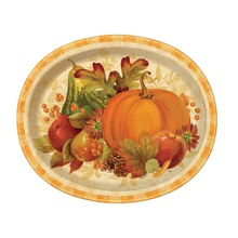 Oval Pumpkin Harvest Fall Dinner Plates, 8ct