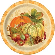 "7"" Pumpkin Harvest Fall Party Plates, 8ct, medium"