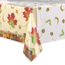 "Plastic Woodland Fall Tablecloth, 84"" x 54"""