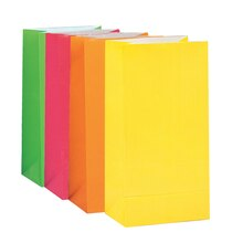 Neon Paper Party Bags, Assorted 10ct