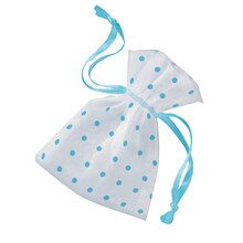 Light Blue Polka Dot Organza Baby Shower Favor Bags, 6ct