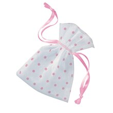 Light Pink Polka Dot Organza Baby Shower Favor Bags, 6ct